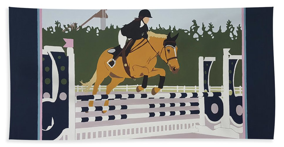 Horse Jumping Horse Jump Lake Placid New York Ny Horses Show Showgrounds Ski Jumps Beach Sheet featuring the painting Lake Placid Horse Show by Joanne Orce