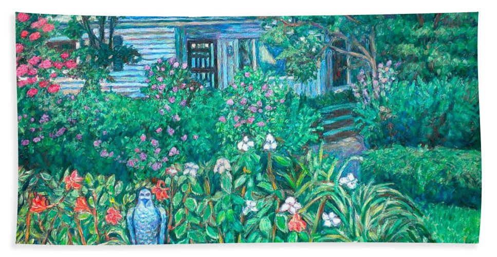 Landscape Beach Towel featuring the painting House on Chesterbrook Road in McLean by Kendall Kessler