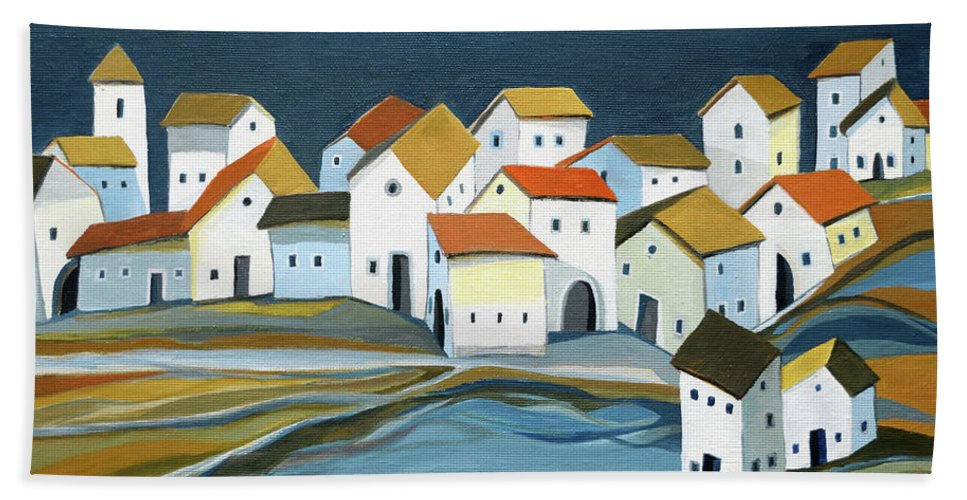 Houses Beach Towel featuring the painting Houses along the stream by Aniko Hencz