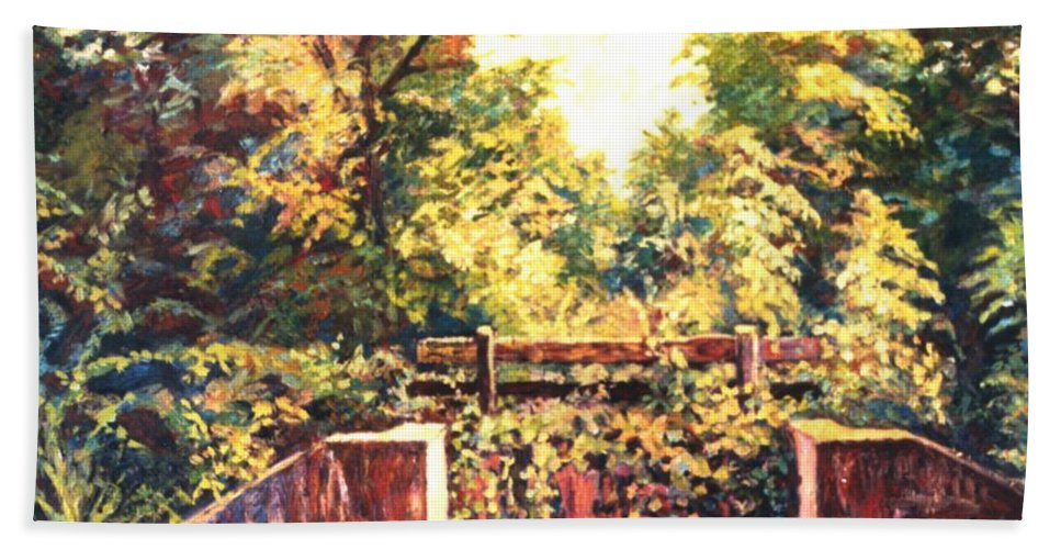Landscape Beach Towel featuring the painting Huckleberry Line Trail by Kendall Kessler