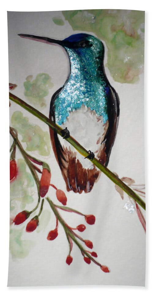 Hummingbird Painting Bird Painting Caribbean Painting Beach Towel featuring the painting Hummingbird 3 by Karin Dawn Kelshall- Best
