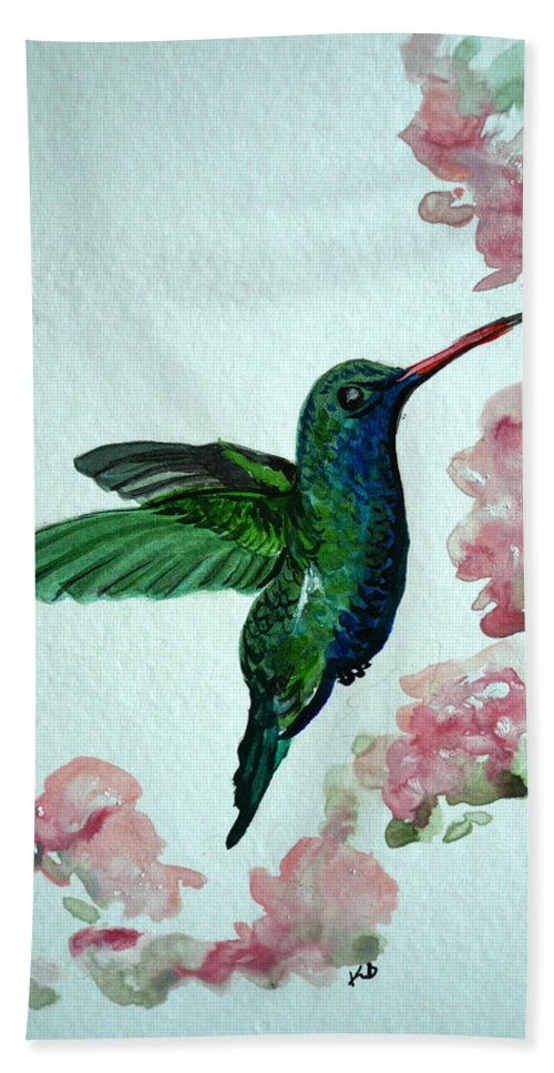 Hummingbird Painting Tropical Bird Green Bird Painting Beach Towel featuring the painting Hummingbird 4 by Karin Dawn Kelshall- Best