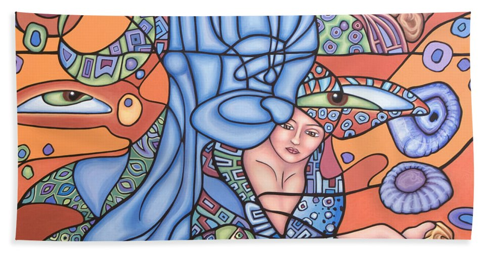 Mermaid Beach Towel featuring the painting I See You by Judy Henninger