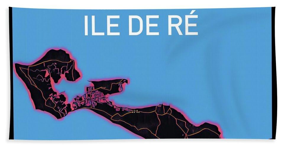 Ile De Re Beach Towel featuring the digital art Ile de Re Map by HELGE Art Gallery