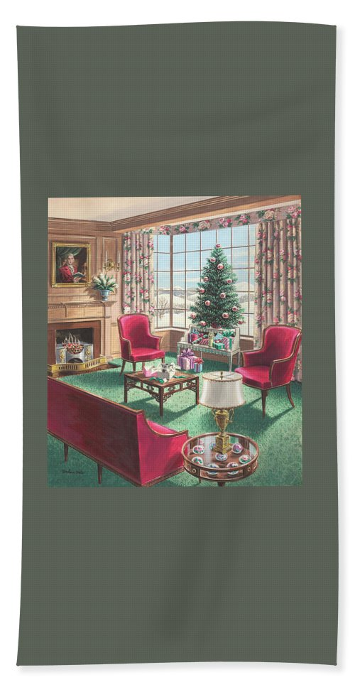 Beach Towel featuring the painting Illustration Of A Christmas Living Room Scene by Urban Weis