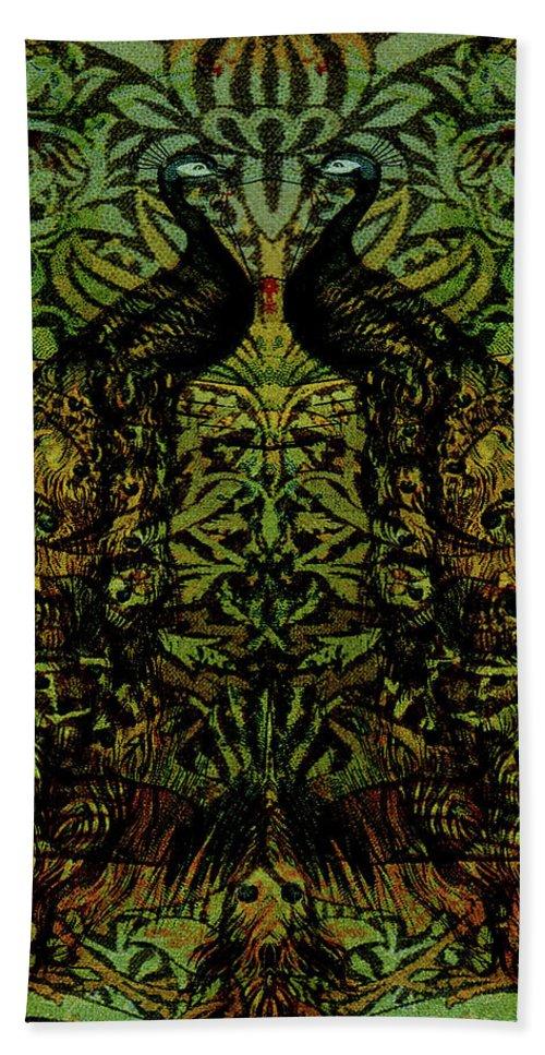 Peafowls Beach Towel featuring the digital art Indian Blue Peafowl Pattern by Sarah Vernon