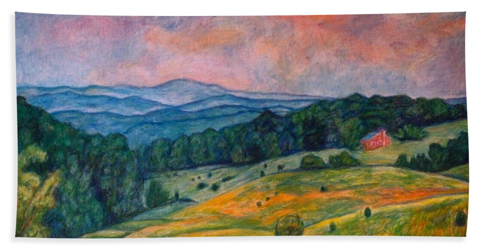 Ingles Mountain Beach Towel featuring the painting Ingles Mountain by Kendall Kessler