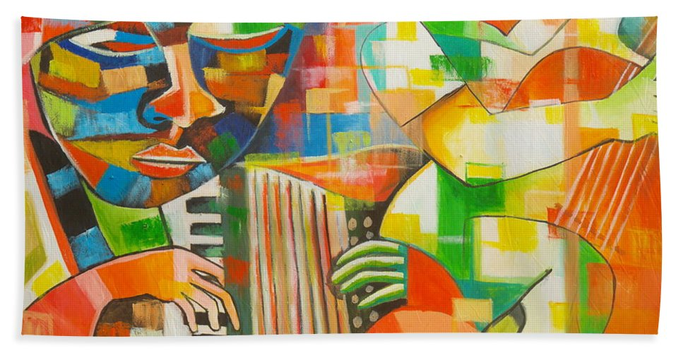Orange Beach Towel featuring the painting Instrumentalist by Olaoluwa Smith