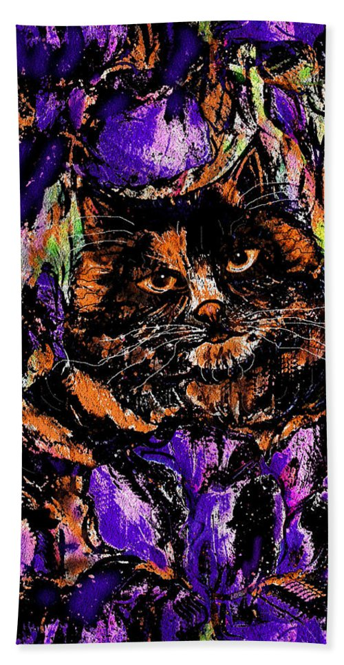 Cat Beach Towel featuring the painting Iris by Natalie Holland