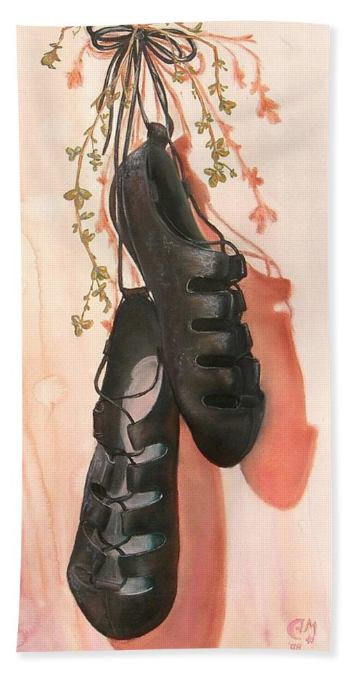 Irish Dance Shoes Clover Beach Towel featuring the painting Irish Dance Shoes by Anna Mulfinger