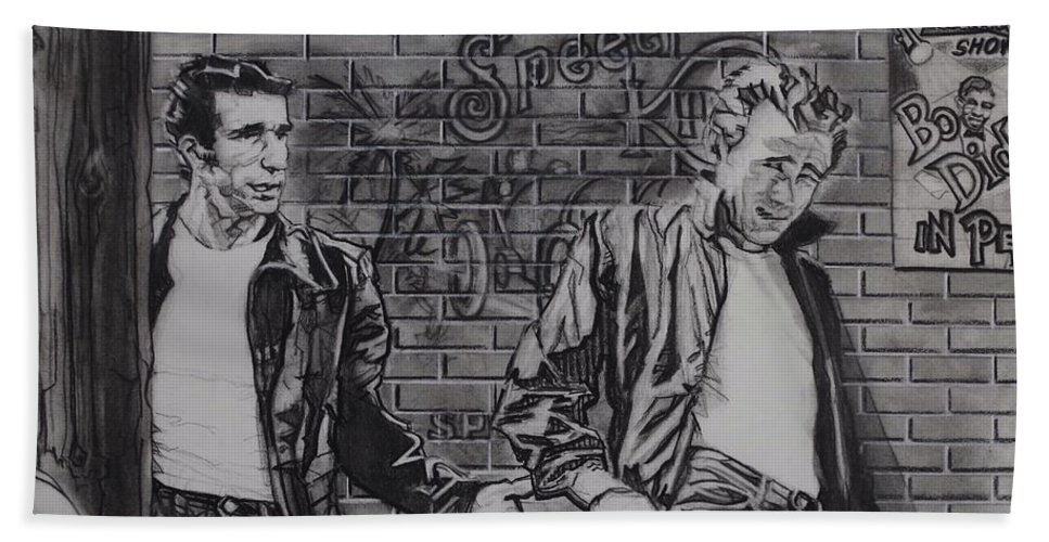 Charcoal On Paper Beach Towel featuring the drawing James Dean Meets The Fonz by Sean Connolly