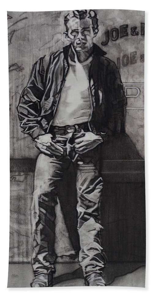 Charcoal On Paper Beach Towel featuring the drawing James Dean by Sean Connolly