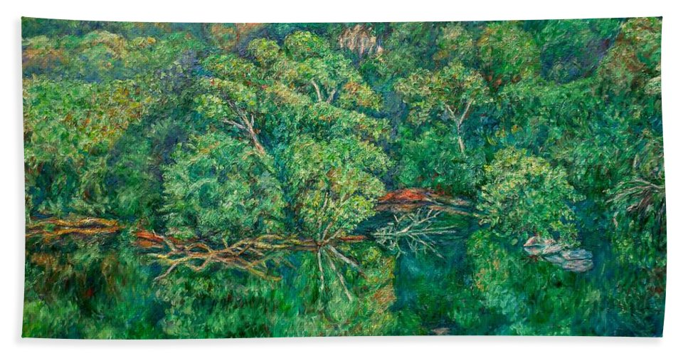 Landscape Beach Towel featuring the painting James River Moment by Kendall Kessler