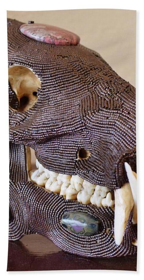 Beads Beach Towel featuring the mixed media Javelina by Charla Van Vlack