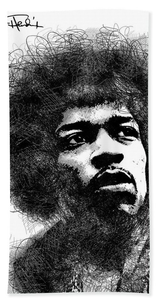 Jimi Hendrix Beach Towel featuring the digital art Jimi Hendrix scribbles portrait by Mihaela Pater