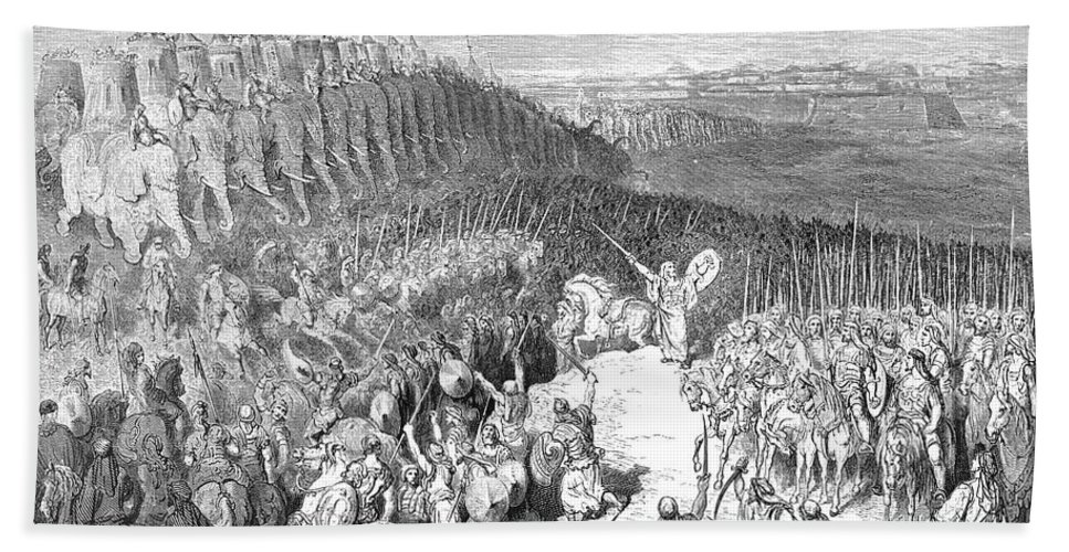 Judas Maccabeus before the Army of Nicanor by Gustave Dore w1 Beach Towel  for Sale by Historic illustrations