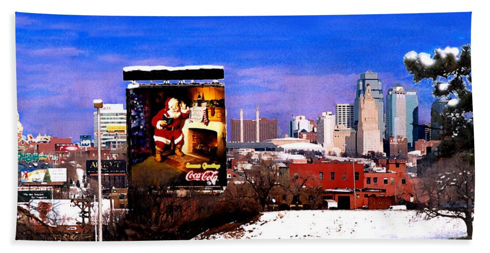 City Beach Towel featuring the photograph Kansas City Skyline at Christmas by Steve Karol