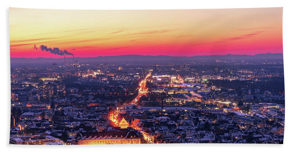 Karlsruhe Beach Towel featuring the photograph Karlsruhe in winter at sunset by Hannes Roeckel