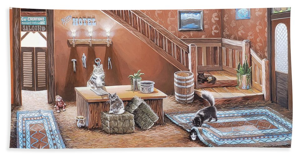 Cats In A Hotel Beach Towel featuring the painting Kitty Hotel by Jennifer McDuffie