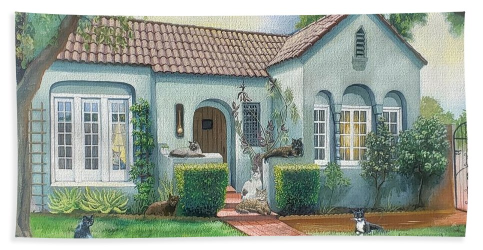 7 Kitties Beach Towel featuring the painting Kitty House by Jennifer McDuffie