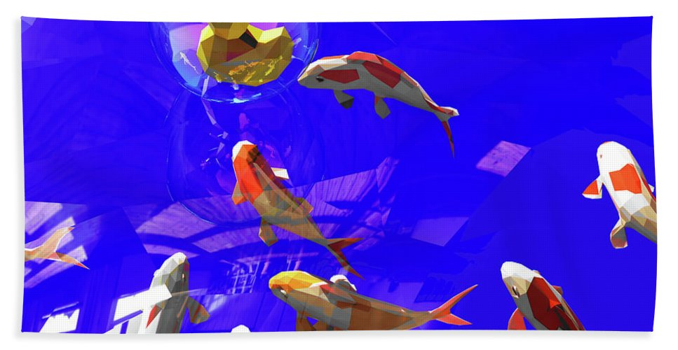 Koifish Beach Towel featuring the digital art Koifish_and_Duckie by Heike Remy