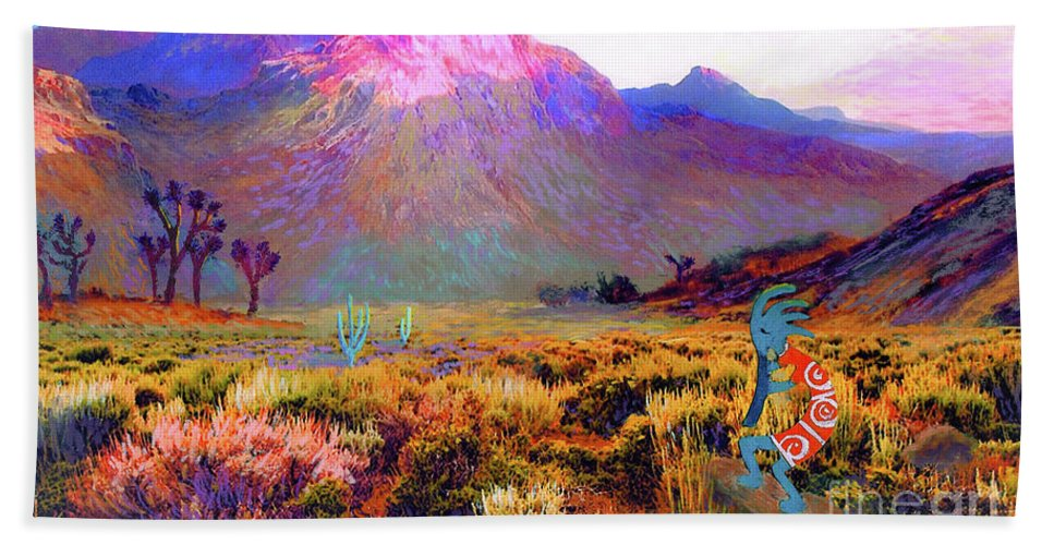 Spiritual Beach Towel featuring the painting Kokopelli Dawn by Jane Small