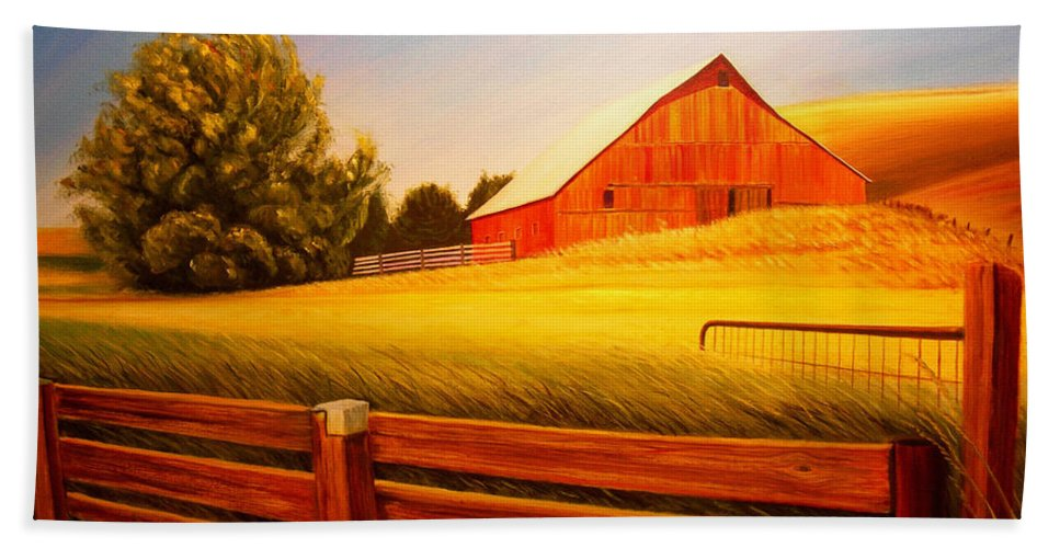 Wheat Beach Towel featuring the painting La Crosse Barn by Leonard Heid