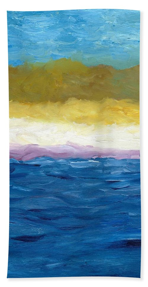 Abstract Landscape Beach Towel featuring the painting Lake Michigan Dunes Study by Michelle Calkins