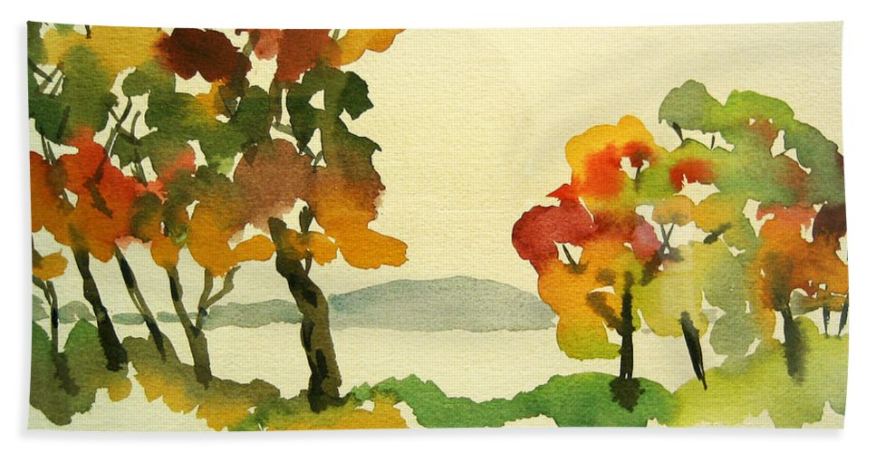 Landscape Beach Towel featuring the painting Lake Study by Mary Ellen Mueller Legault