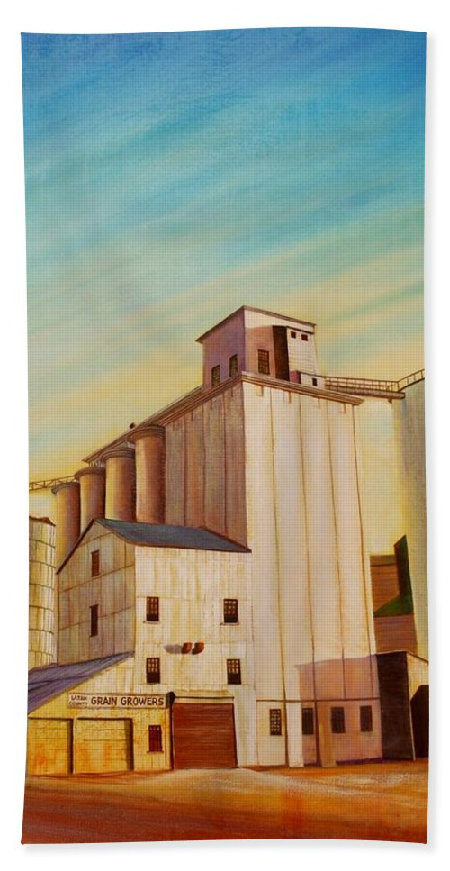 Grain Beach Towel featuring the painting Latah County Grain Growers by Leonard Heid