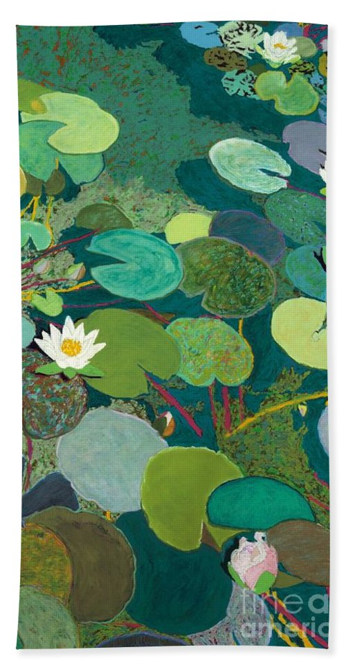 Landscape Beach Towel featuring the painting Lazy Pond by Allan P Friedlander