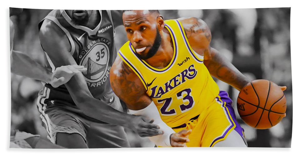 Lebron James Beach Towel featuring the mixed media Lebron James 4f by Brian Reaves