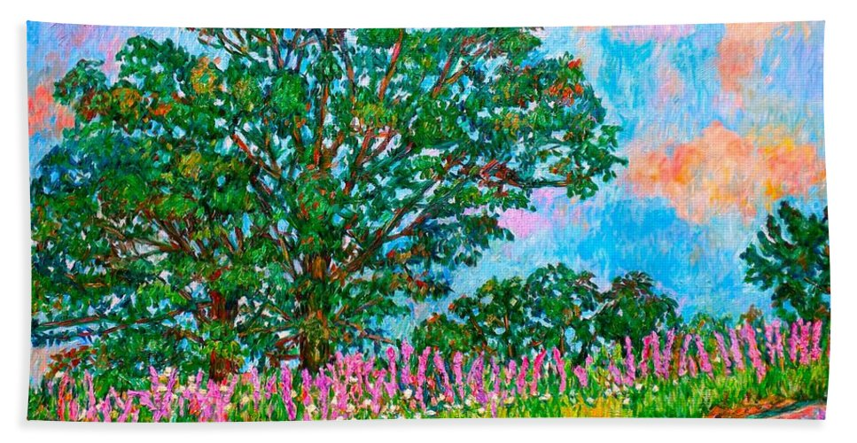 Landscape Beach Towel featuring the painting Liatris Flowers at Doughton Park by Kendall Kessler