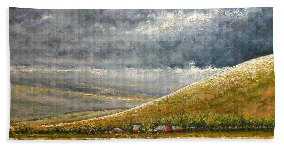 Landscape Beach Towel featuring the painting Lightburst-Jackson Hole by Jim Gola