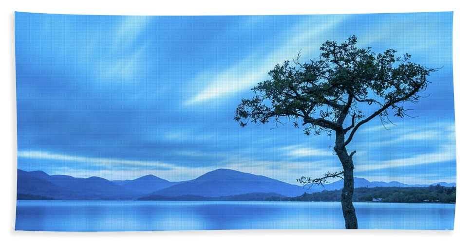 Milarrochy Bay Beach Towel featuring the photograph Lone tree Milarrochy Bay by Janet Burdon