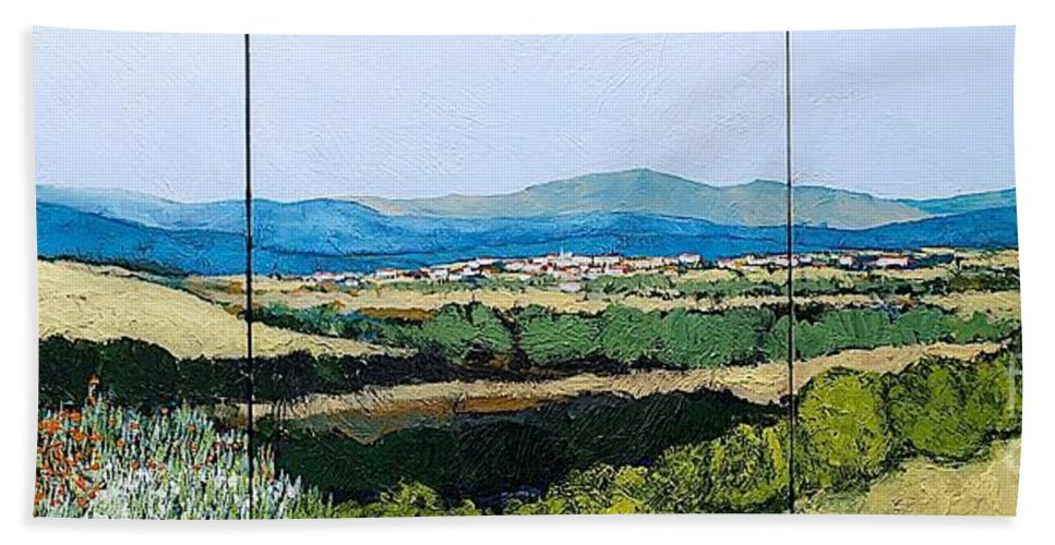 Landscape Beach Towel featuring the painting Long Get Away by Allan P Friedlander