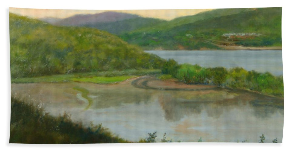 Landscape Beach Towel featuring the painting Looking South From St. Basil by Phyllis Tarlow