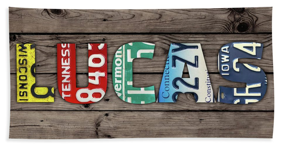 Lucas Beach Towel featuring the mixed media Lucas Name Vintage License Plate Art Lettering Sign by Design Turnpike
