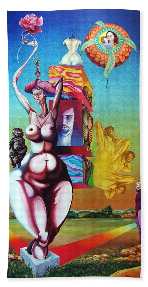 Surrealism Beach Towel featuring the painting Magna Mater by Otto Rapp