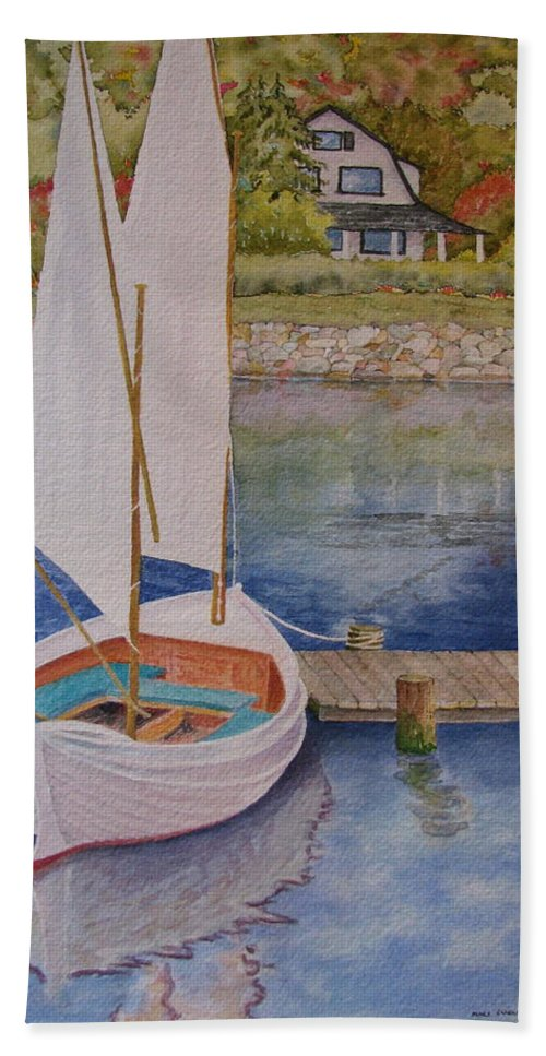 Sailboat Beach Towel featuring the painting Maine Sail One by Mary Ellen Mueller Legault