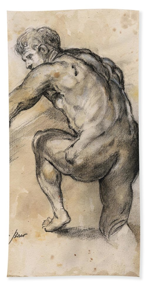 Nude Art Beach Towel featuring the painting Male nude drawing by Juan Bosco