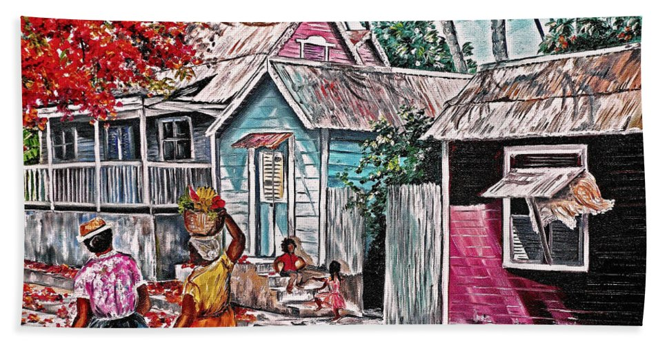 Market Women Painting Barbados Painting Islands Painting  Poinciana Painting Houses Painting Poinciana Painting Caribbean Painting Tropical Painting Beach Towel featuring the painting Marketday Barbados by Karin Dawn Kelshall- Best