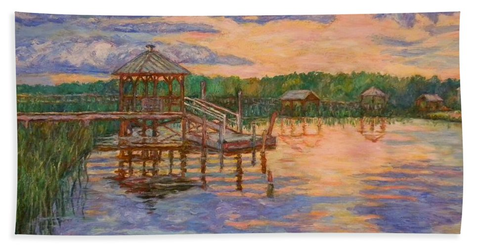 Landscape Beach Towel featuring the painting Marsh View at Pawleys Island by Kendall Kessler