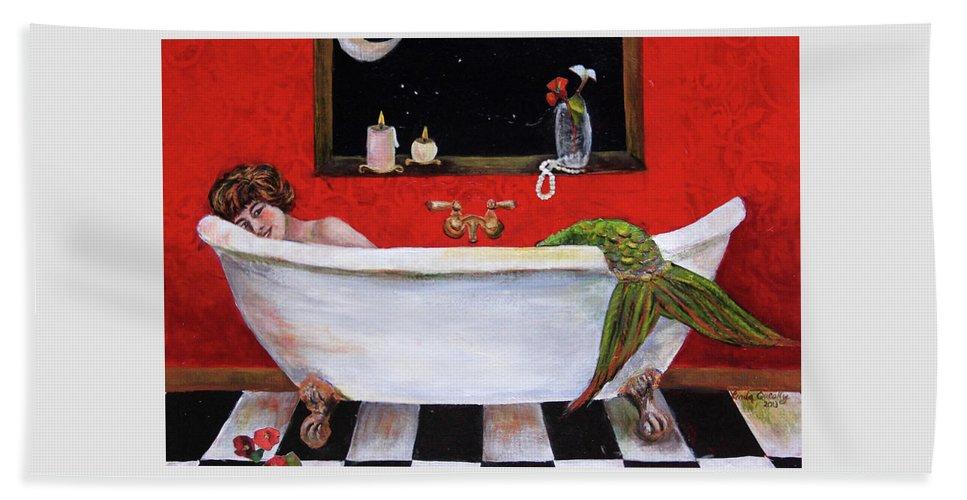 Mermaid Beach Towel featuring the painting Mermaid in Bathtub Taking a Moonlight Soak by Linda Queally by Linda Queally