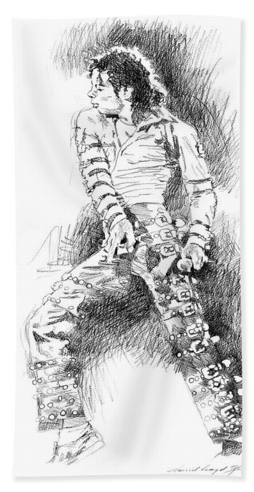 Michael Jackson Beach Towel featuring the drawing Michael Jackson - Onstage by David Lloyd Glover