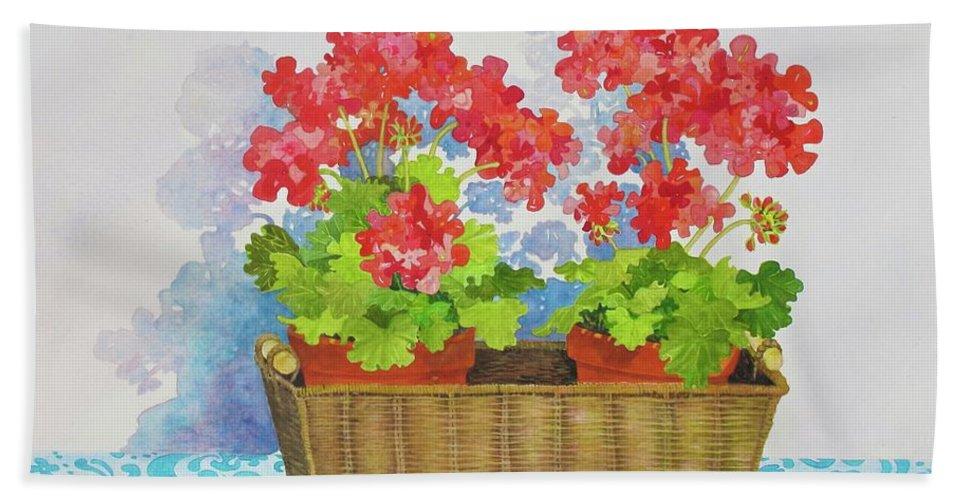 Geranium Beach Towel featuring the painting Mimi's Basket by Mary Ellen Mueller Legault