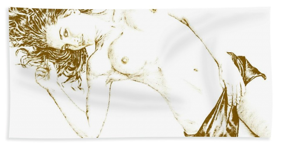 Nude Beach Towel featuring the painting Minx by Richard Young