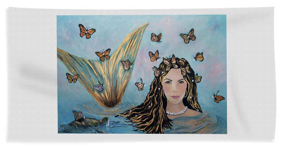 Mermaid Beach Towel featuring the painting More Precious Than Gold by Linda Queally