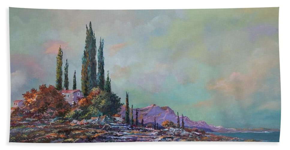 Seascape Beach Towel featuring the painting Morning Mist by Sinisa Saratlic