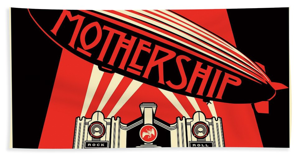 Album Beach Towel featuring the digital art Mothership Remastered by Led Zeppelin by Poster Frame